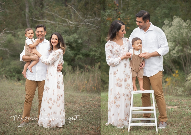 Parents holding baby son on a step stool in a field in Montgomery, Texas