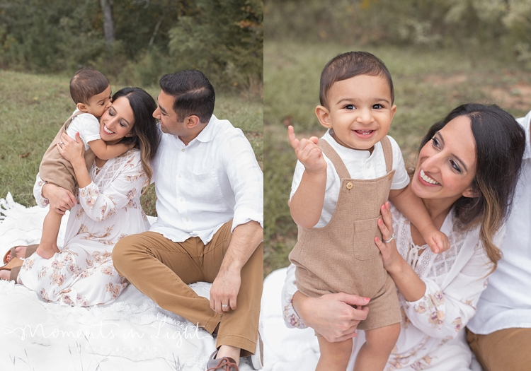 Mother, father and baby son on a blanket in field by Montgomery, Texas family photographer