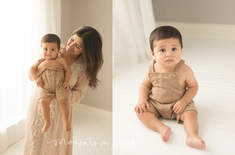 baby boy in tan overalls with mom in Houston photo studio