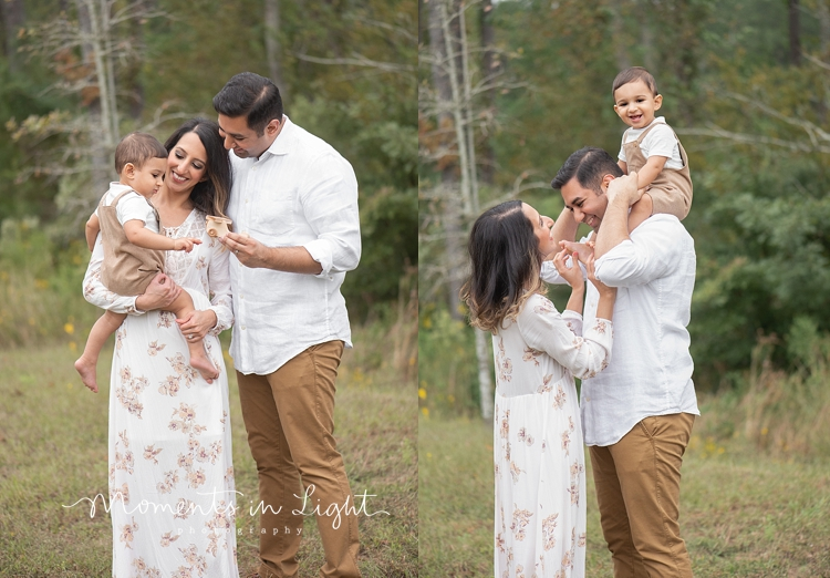 Mother and father with baby son in a field by family photographer in Montgomery, Texas