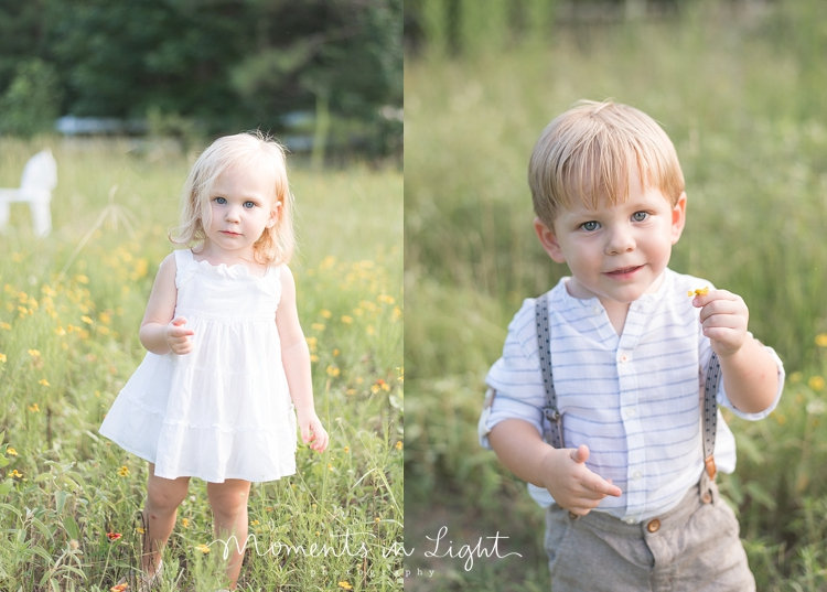 two-year-old boy-girl twins in a field of flowers in Montgomery, Texas