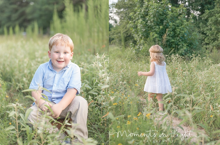 young boy smiling in a field of grass in Montgomery, Texas