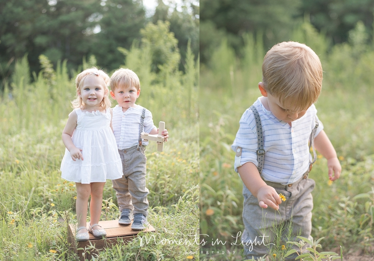 two-year-old boy-girl twins in a field in Montgomery, Texas