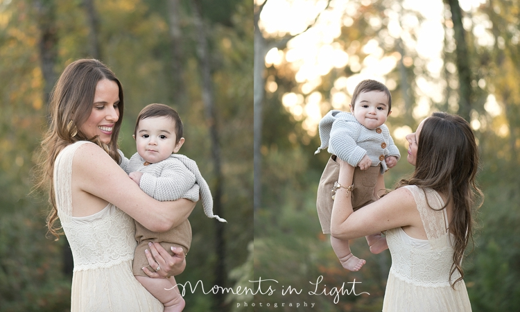 Mother in a cream lace dress holding baby son in a field in Montgomery, Texas