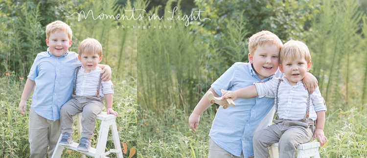 toddler boys sitting on white ladder in a field in Montgomery, Texas