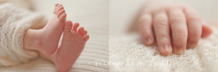 Closeups of baby hands and feet by newborn photographer in The Woodlands