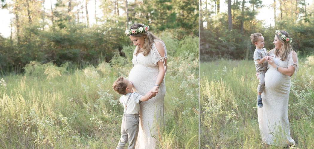 pregnant woman in a field in The Woodlands, TX with her son kissing her belly